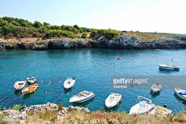 Italy, Puglia, Selvaggio, Boats in harbor
