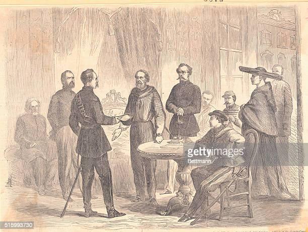 Revolution In Sicily General Garibaldi Receiving The Neapolitan Envoy Major Bosco At His Headquarters In The Senate House PalermoFrom The Illustrated...