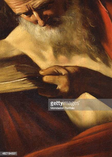 Italy Rome Borghese Gallery Detail The saint is portrayed as sits at a desk with a red mantle With his left hand holds a book