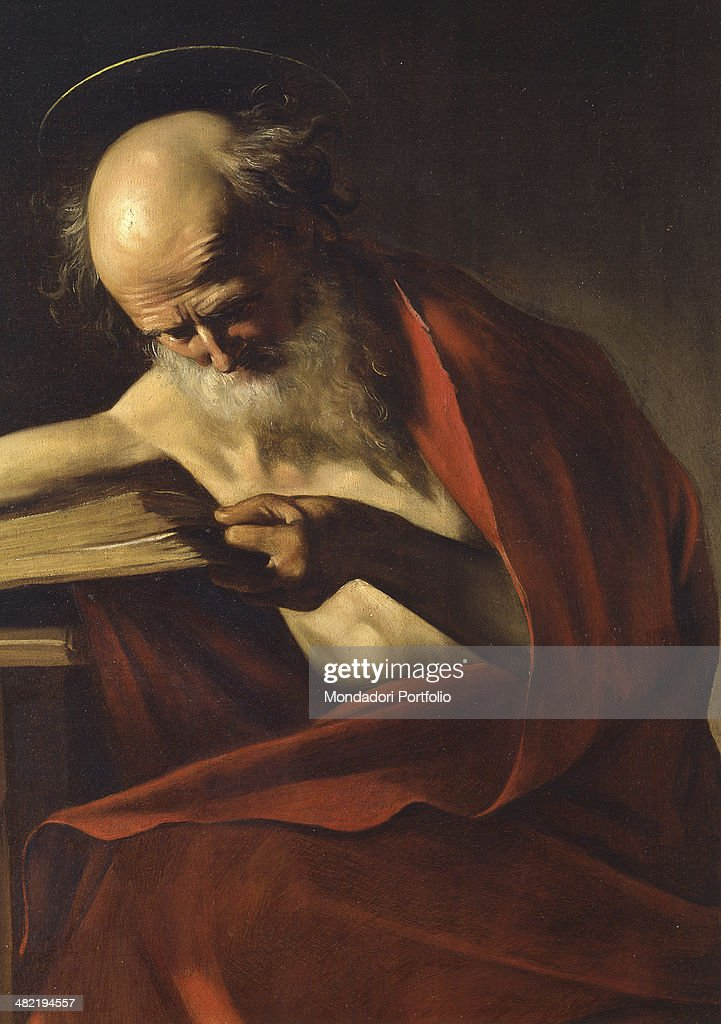 Italy, Rome, Borghese Gallery. Detail. The saint is portrayed as sits at a desk with a red mantle. With his left hand holds a book.