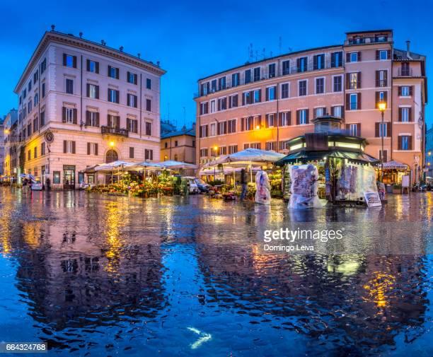 Italy, Rome, Campo de Fiori at night