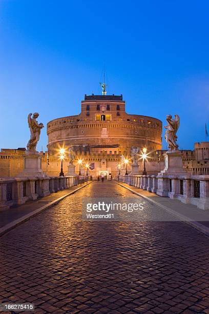 Italy, Rome, Castle Sant' Angelo and Ponte Sant'Angelo at dusk