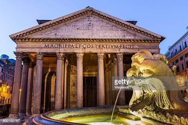 Italy, Rome, Illuminated Pantheon at night