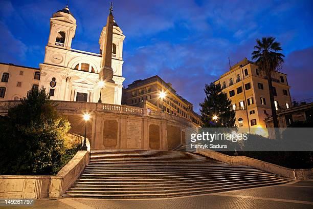 Italy, Rome, Spanish Steps and Trinita dei Monti Church in early morning