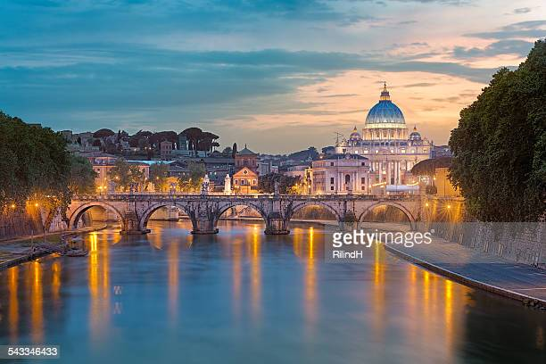 Italy, Rome, St. Peter's Basilica at sunset