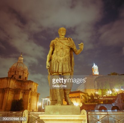 Italy, Rome, statue of Caesar in front of Roman Forum : Stock Photo