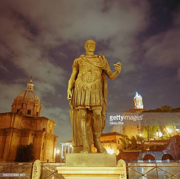 Italy, Rome, statue of Caesar in front of Roman Forum