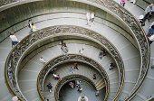 Italy, Rome, Vatican Museum, tourists on staircase, elevated view