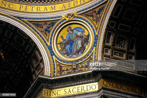 Italy Rome Vatican St Peter's Square St Peter's Basilica Interior Michelangelo's Dome Detail