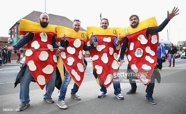 Italy rugby supporters look on ahead of the 2015 Rugby World Cup Pool D match between Italy and Canada at Elland Road on September 26 2015 in Leeds...