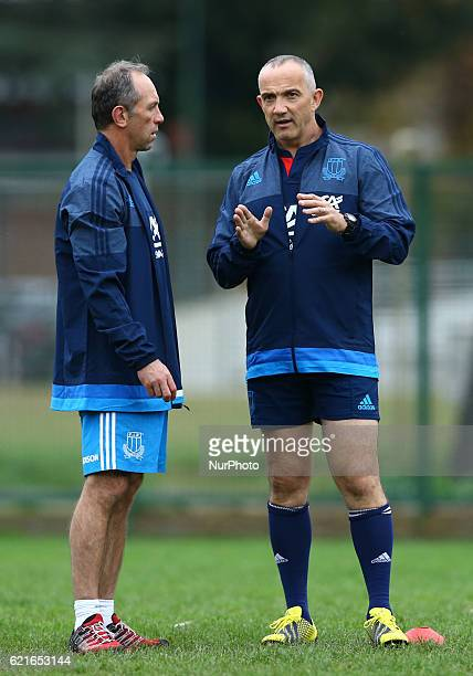 Italy rugby team training session before the test match vs New Zealand Italy head coach Conor O Shea with the defensive skills coach Brendan Venter...