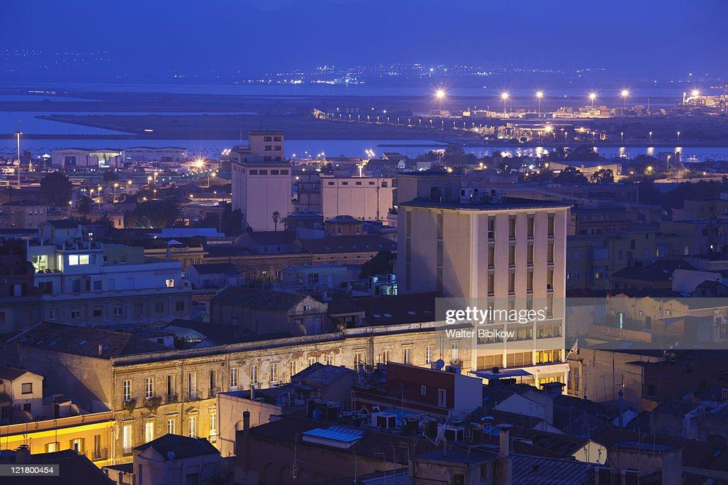 Italy Sardinia Cagliari Port View From Il Castello Stock ...