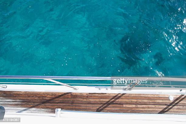 Italy, Sardinia, Planks of yacht deck