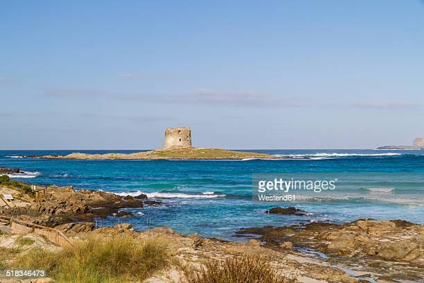 Italy, Sardinia, Stintino, La Pelosa, Beach, Tower at Pelosa