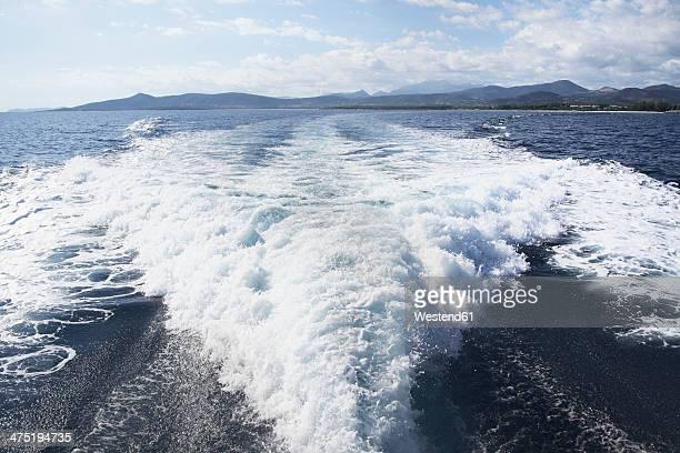 Italy, Sardinia, Wake of yacht