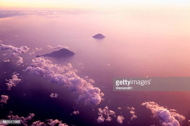 Italy, Sicily, aerial view of clouds and the sea