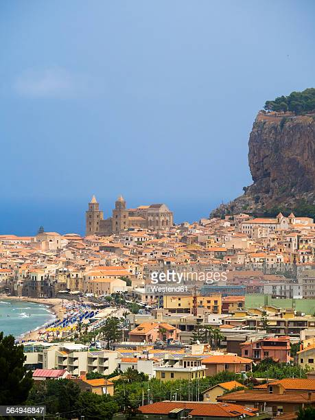 Italy, Sicily, Cefalu, View of Cefalu with Cefalu Cathedral