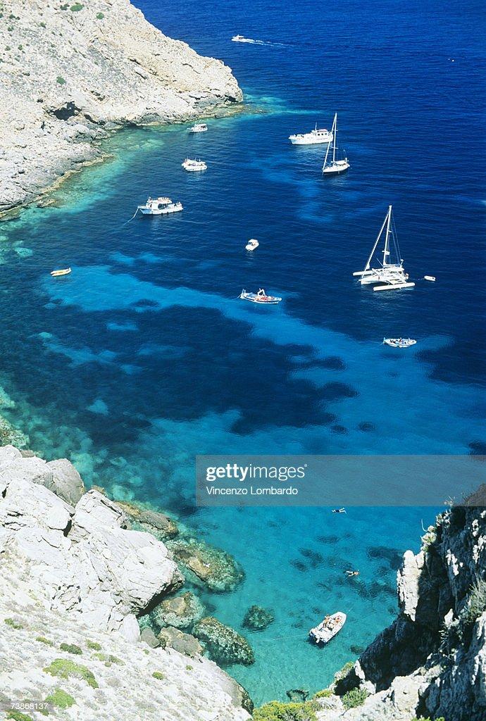 Italy, Sicily, Egadi Island, Marettimo, Cala Manione, high angle view : Stock Photo