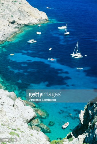 Italy, Sicily, Egadi Island, Marettimo, Cala Manione, high angle view : Stock Photo