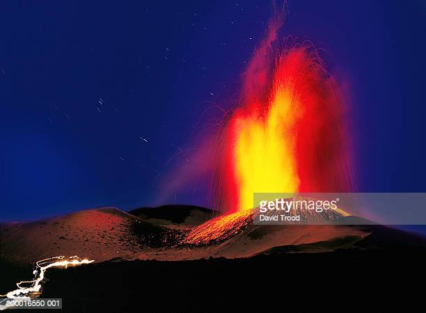 Italy, Sicily, Mount Etna erupting, night