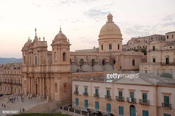 Italy Sicily Noto Cityscape with San Nicolo' Cathedral