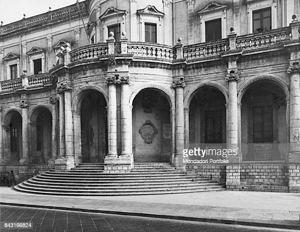 Italy Sicily Noto Ducezio palace Whole artwork view Convex facade of Ducezio Palace the town hall articulated in twenty arcades