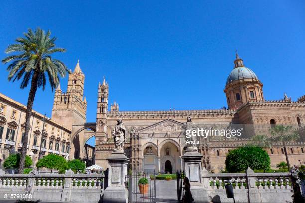 Italy Sicily Palermo Palermo Cathedral built in the XIIth century in an ArabianNorman style and blue sky in the background