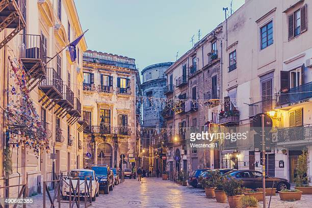 Italy, Sicily, Palermo, Street view in evening light