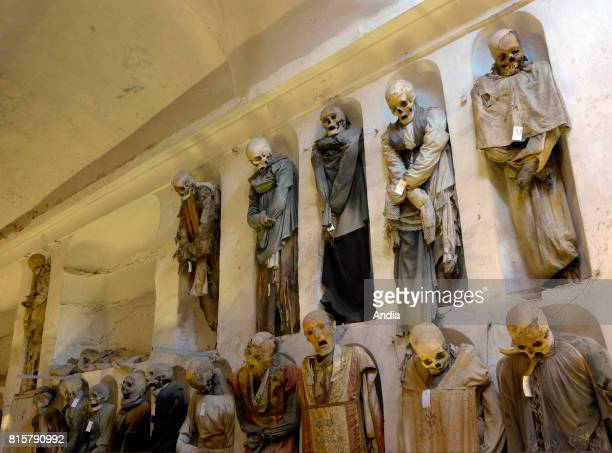 Italy Sicily Palermo The Capuchin Catacombs of Palermo contain about 8000 corpses and 1252 mummies that line the walls