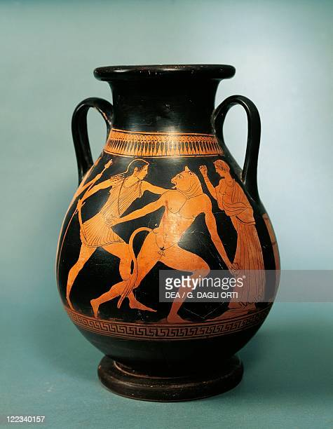 Italy Sicily Pelike depicting Theseus and the Minotaur circa 470460 BC painted by the socalled Painter of the Pigs