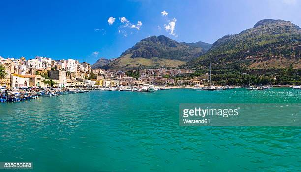 Italy, Sicily, Province of Trapani, Fishing village Castellammare del Golfo, Harbour, Panorama