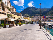 Italy, Sicily, Province of Trapani, Fishing village Castellammare del Golfo, Promenade and restaurants