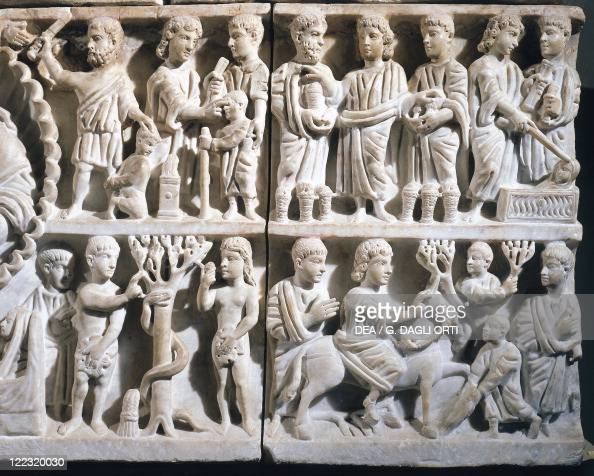 Italy Sicily Syracuse Detail of Sarcophagus of Adelfia Adam Eve Abraham and Isaac Jesus life scene from the catacombs of San Giovanni