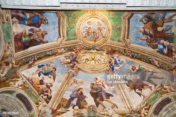 Italy Sicily Syracuse Ortygia Cathedral paintings on ceiling of Santissimo Sacramento Chapel
