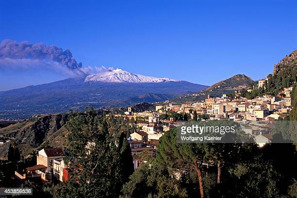 Italy Sicily Taormina View Of Mt Etna Eruption