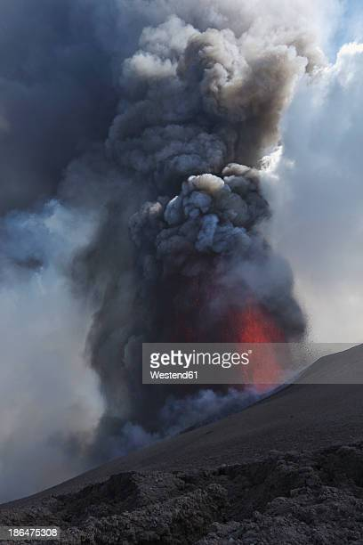 Italy, Sicily, View of lava erupting from Mount Etna