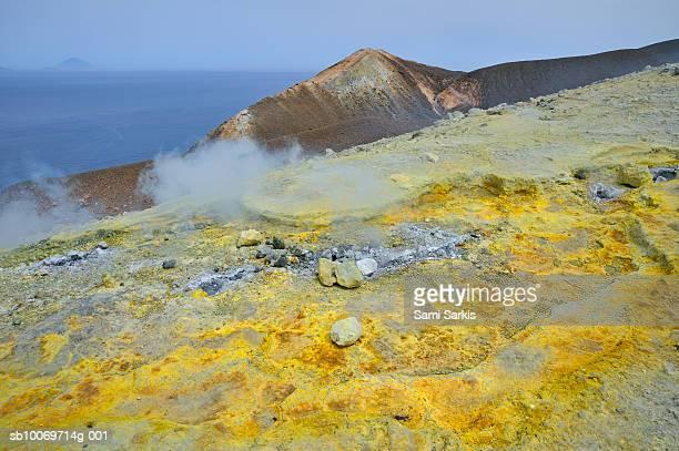 Italy, Sicily, Vulcano Island, sulphur and fumaroles smoke
