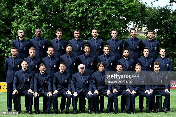 Italy soccer team players pose on June 1 2016 in the Florence's Coverciano training camp during the official presentation prior to the Euro...