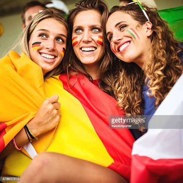 italy spain and germany friends supporters at stadium