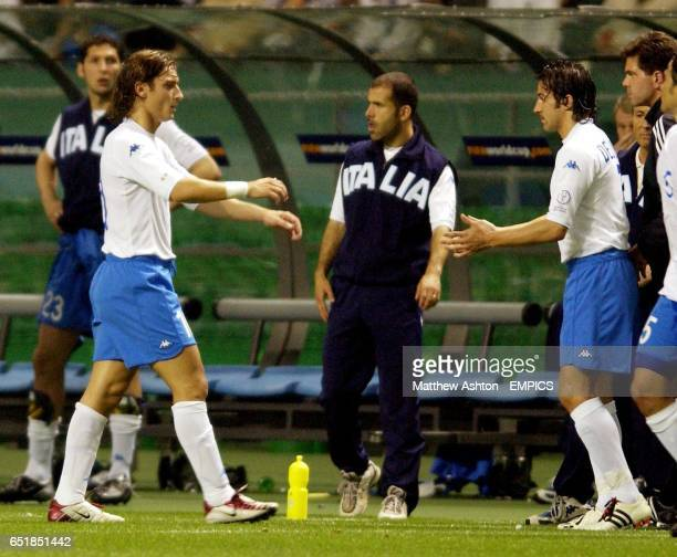 Italy Substitute Alesssandro Del Piero replaces Francesco Totti before scoring the equaliser