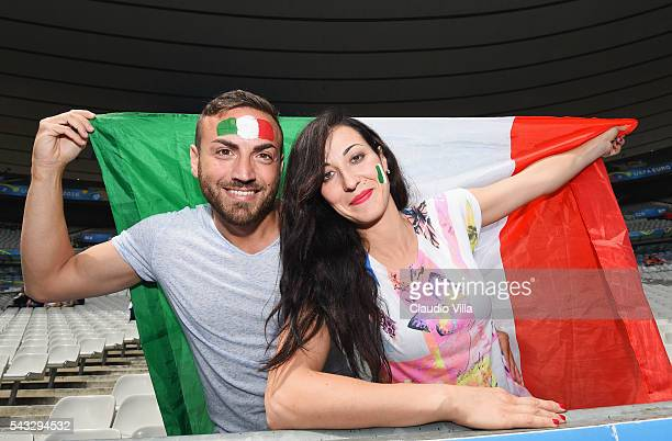 Italy supporters enjoy the atmosphere prior to the UEFA EURO 2016 round of 16 match between Italy and Spain at Stade de France on June 27 2016 in...