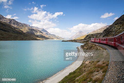Italy - Switzerland - The Red Train Bernina Express : Stock Photo