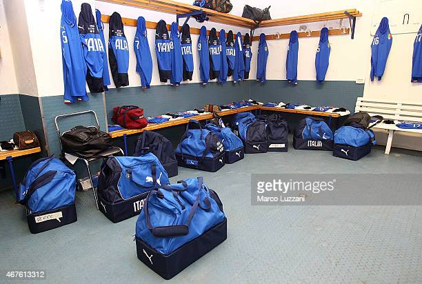 Italy team dressing room before the 4 Nations Tournament match between Italy U20 and Switzerland U20 at Stadio RigamontiCeppi on March 26 2015 in...