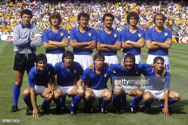 Italy team group back row left to right Dino Zoff Giancarlo Antognoni Gaetano Scirea Claudio Gentile Fulvio Collovati Francesco Graziani Paolo Rossi...