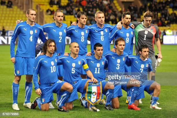 Italy team group Giorgio Chiellini Leonardo Bonucci Christian Maggio Daniele de Rossi Marco Borriello and goalkeeper Federico Marchetti Andrea Pirlo...