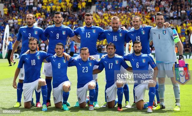 Italy team group shot Top Row Giorgio Chiellini Graziano Pelle Andrea Barzagli Daniele De Rossi Leonardo Bonucci and Gianluigi Buffon Bottom Row...