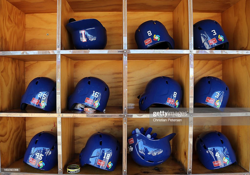 Italy team helmets helmets sit on shelves before the World Baseball Classic First Round Group D game against Mexico at Salt River Fields at Talking Stick on March 7, 2013 in Scottsdale, Arizona.