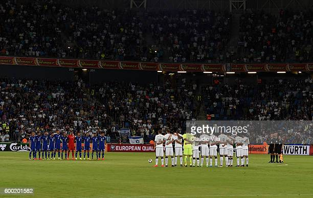 Italy team hold a minute of silence in tribute to the victims of the Italy quake ahead of the FIFA 2018 World Cup Qualifier between Israel and Italy...