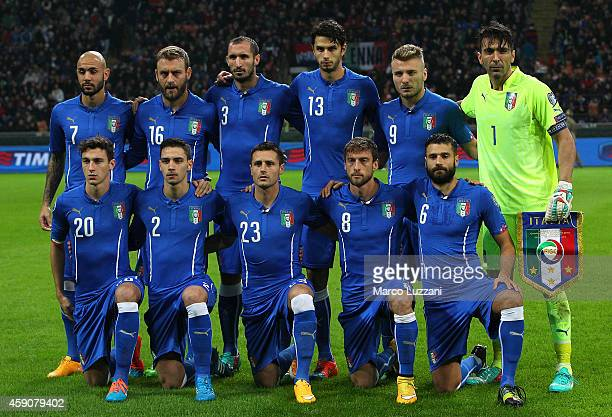 Italy team line up before the EURO 2016 Group H Qualifier match between Italy and Croatia at Stadio Giuseppe Meazza on November 16 2014 in Milan Italy