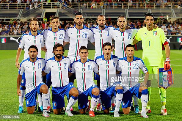 Italy team poses during the UEFA EURO 2016 qualifier between Italy and Malta on September 3 2015 in Florence Italy